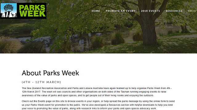 Parks Week website - A Parks Week website provided an overview of the week and allowed councils and other organisations to share their Parks Week events.