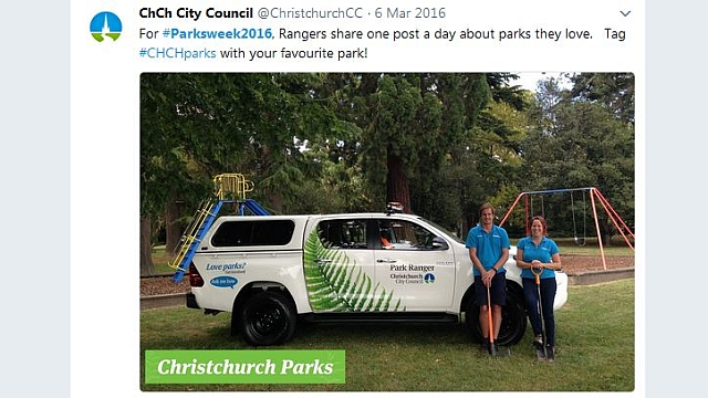 Social media - Councils and many other organisations across New Zealand and Australia shared content using the #ParksWeek2016 hashtag.