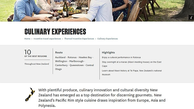 Themed itineraries - Themed itineraries were developed to showcase different experiences business and incentive travellers could enjoy when visiting New Zealand.