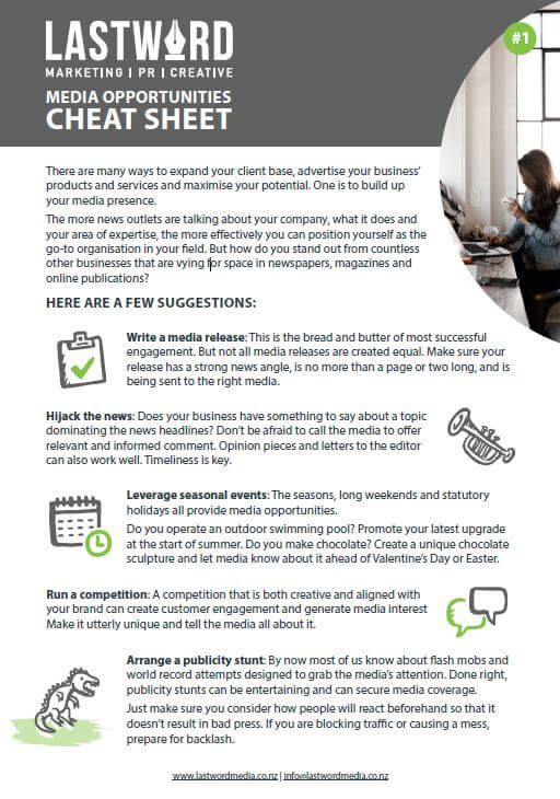 Media cheat sheet - Download now>>