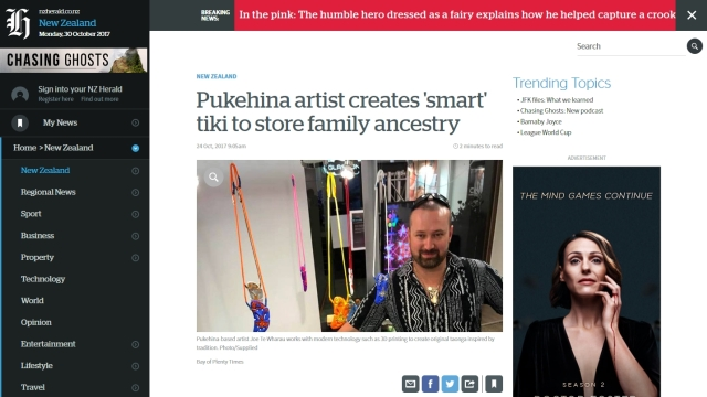 Coverage - NZ Herald - An article about Joe and his exhibition ran in the NZ Herald newspaper, and on its website.