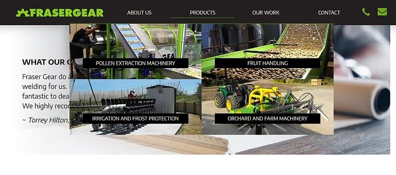 Caption: Mega menus on Fraser Gear website.