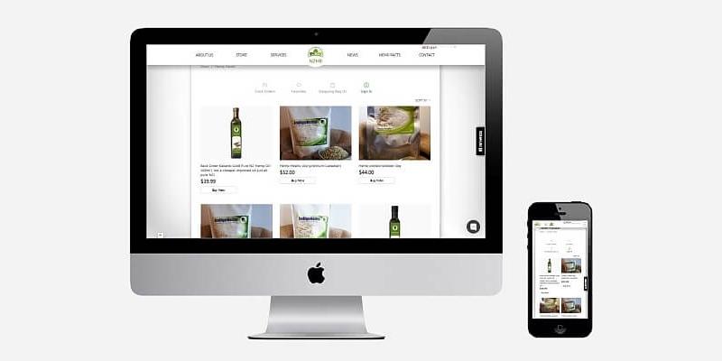 Caption: The online store on NZ Hemp Brokers website.