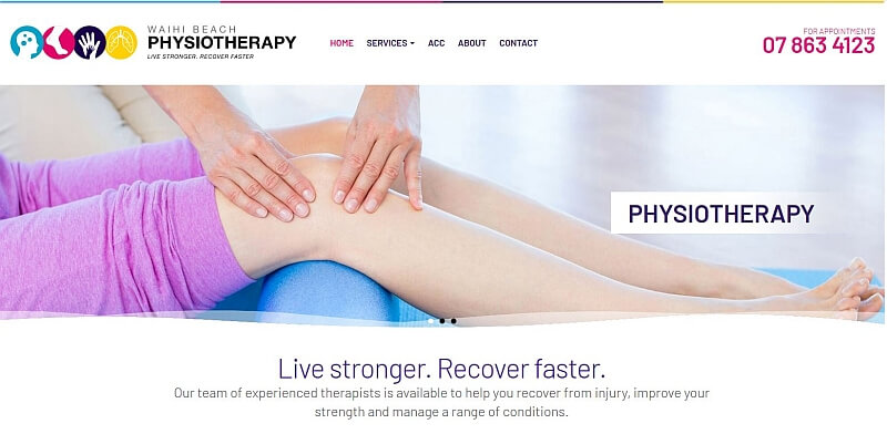 Caption: The phone number is prominent on the Waihi Beach Physiotherapy website.