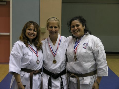 Christie and her partners (Sensei Lynn Aponte and Irene Nunez) place in a local team kata competition
