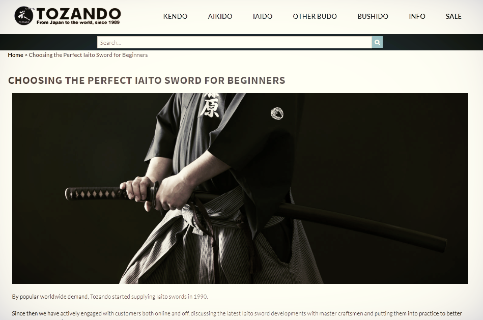 Link to Article about Iaido swords at TozandoShop.com