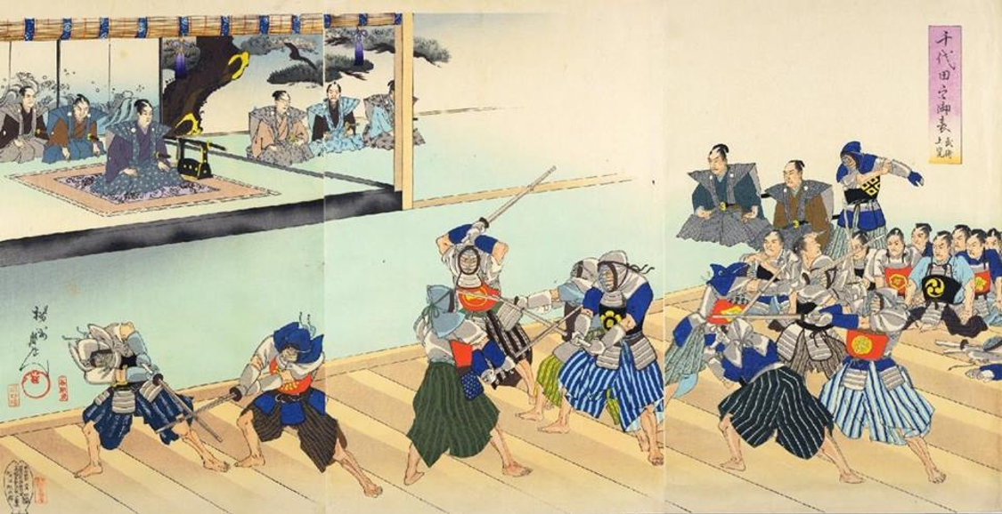 Japanese Woodblock of Kendo Training.png