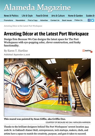 Alameda Magazine- Featuring Griffin One's Mural at The Port Workspace, Oakland. ( Largest Symmetrical Aerosol Mural in The Bay Area.)