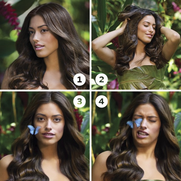 @herbalessences  We've been getting a lot of requests on how to get that butterfly blowout look from the new Wild Naturals ad. So for all you hairy honeys out there, here's the lowdown:  1) Stand in your own secluded patch of tropical paradise.  2) Revel in the splendor of your Cassia-kissed tresses. Then whip them around seductively for your own gratification because you're an empowered woman who wears a leaf as a bra. 3) Look directly into camera and try to ignore the tiny, sticky butterfly legs that are rather inconveniently affixing themselves to your right cheek.  4) Scrunch up your face in the least attractive manner you can muster. Try to hold that position for as long as humanly possible, 'cause you look totally hot.