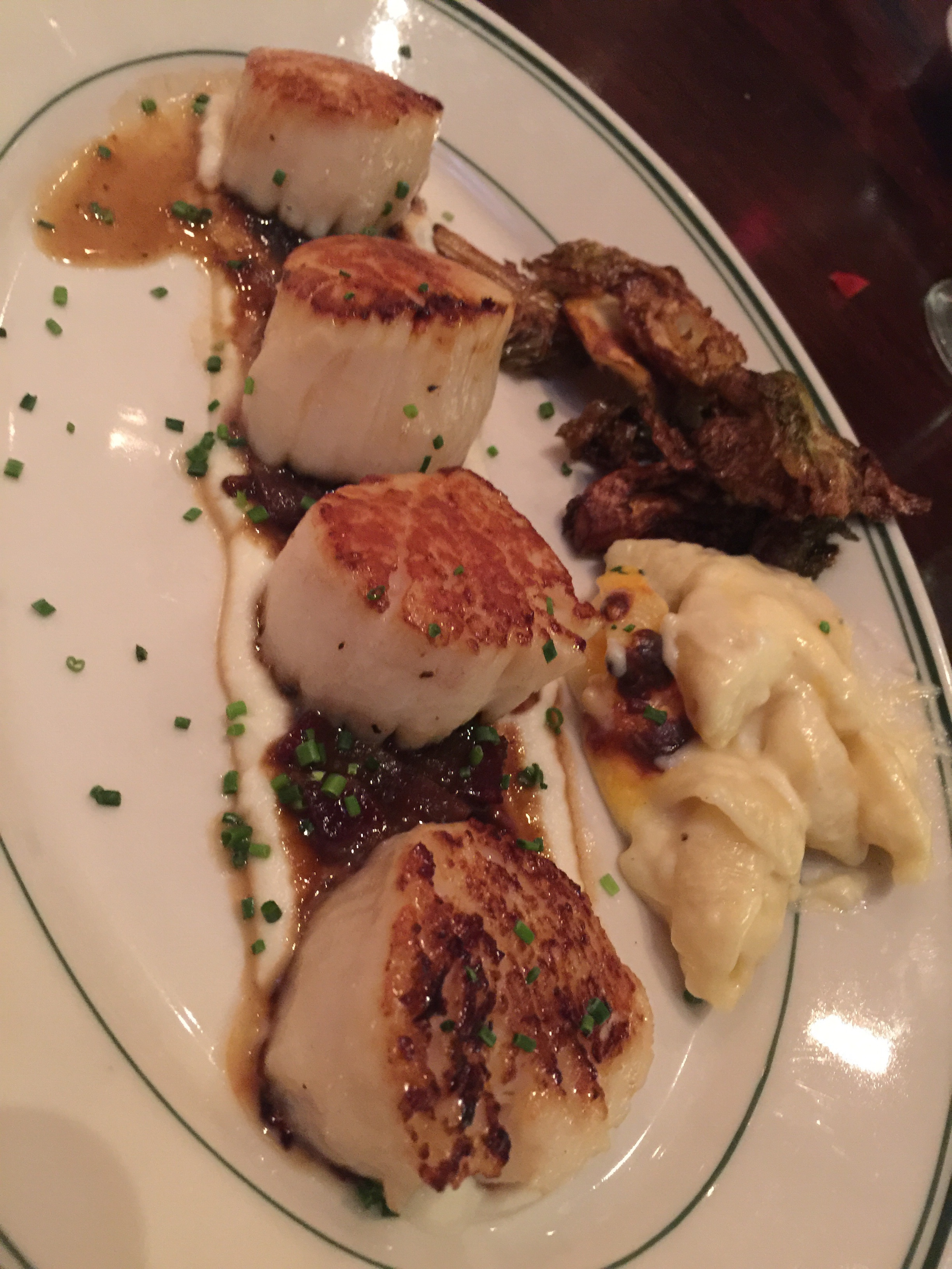 Scallops, mac and cheese, and crispy brussells...amazing!