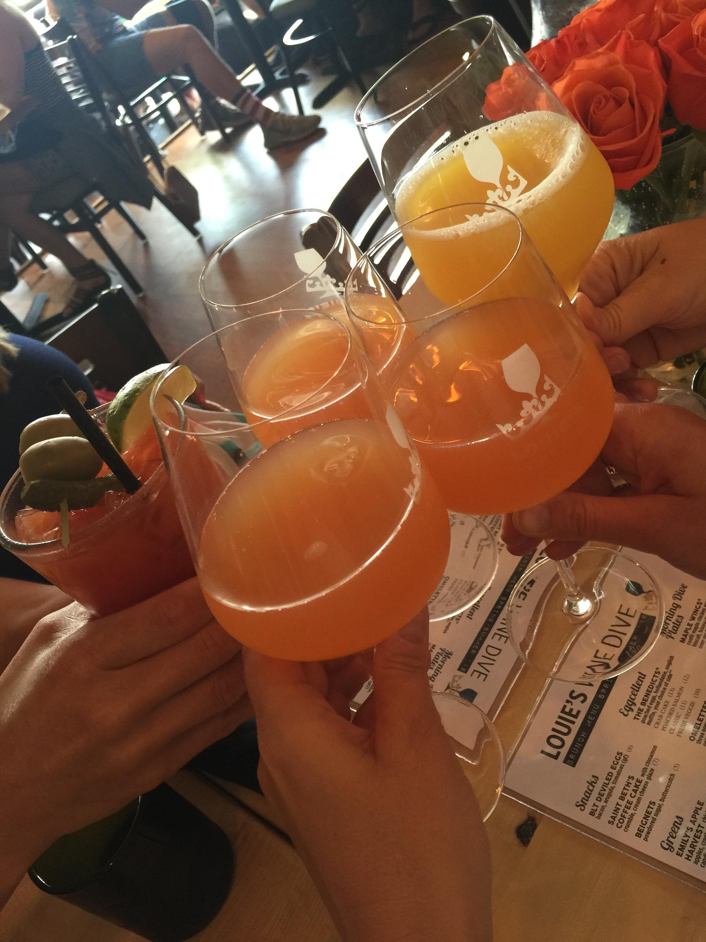 Grapefruit and Orange Juice mimosas