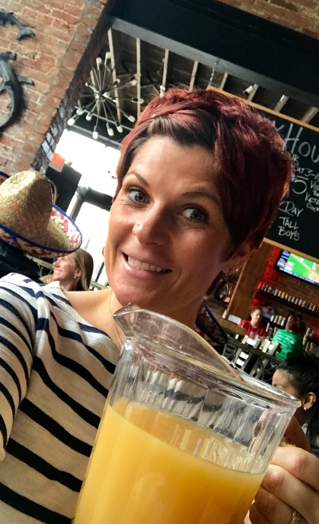 Andrea and her OJ - I mean Mimosa!