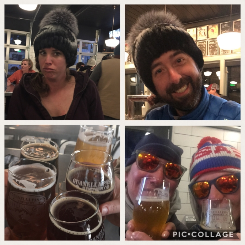 Georgetown favorite  Guanella Pass Brewery , you must check this place out!  Brian joined us all the way from Colorado Springs and modeled Leslie's fancy fur hat.  Leslie was only marginally impressed :-)