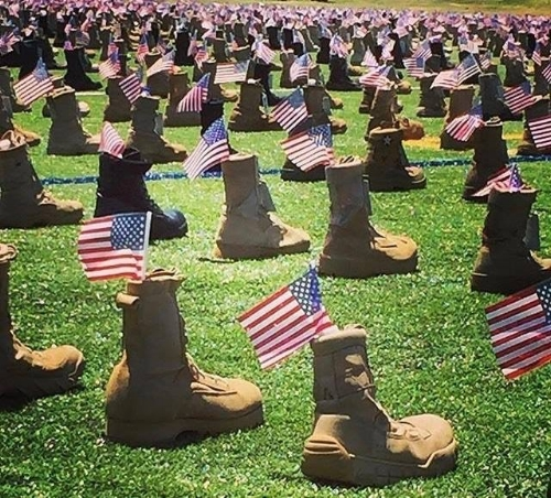 7,200 boots are on display at Fort Bragg from all branches of the military- each representing a fallen warrior.