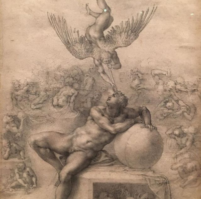 Michelangelo's depcition of being touched by the genius.