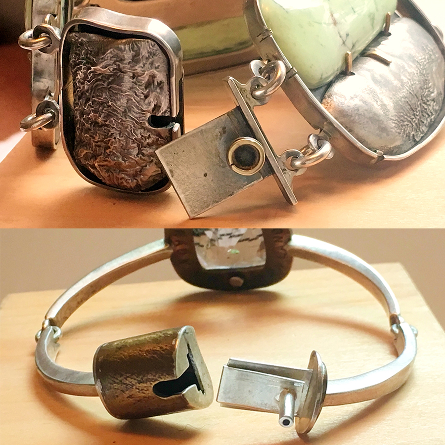 by Judy Parady,  Top bracelet. Silver, Gold, Chrysoprase. Bottom bracelet. Content: Silver, Brass, Rutilated Quartz.