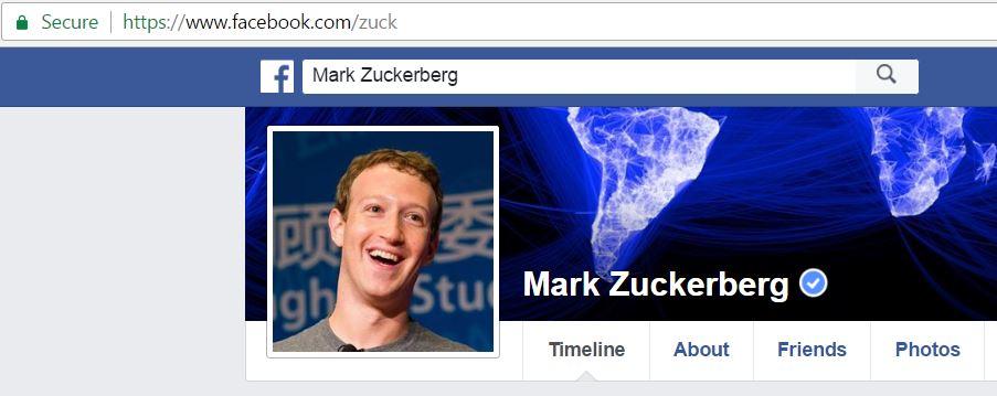 Mark Zuckerberg's Facebook profile