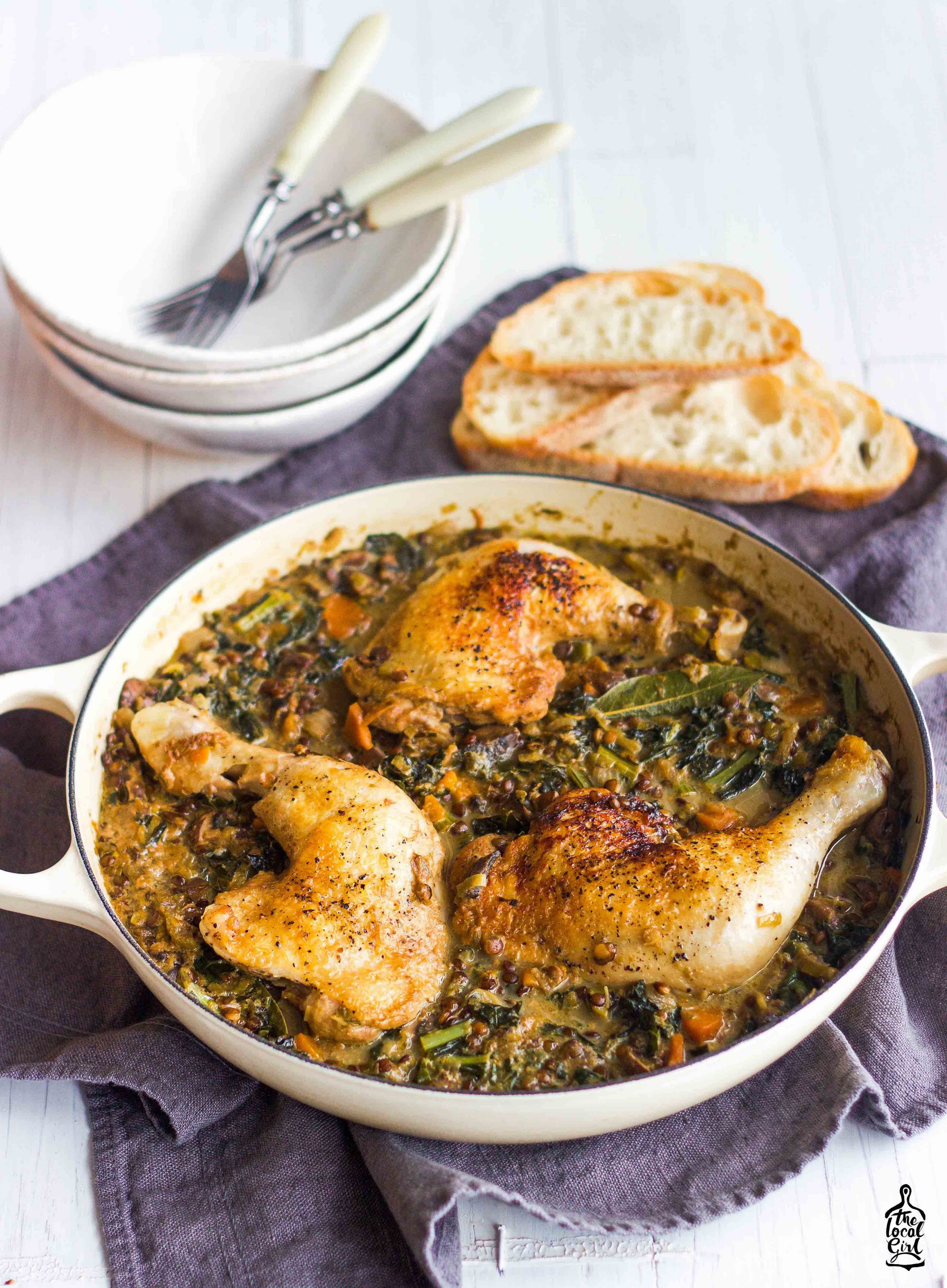 Braised lentils with chicken marylands