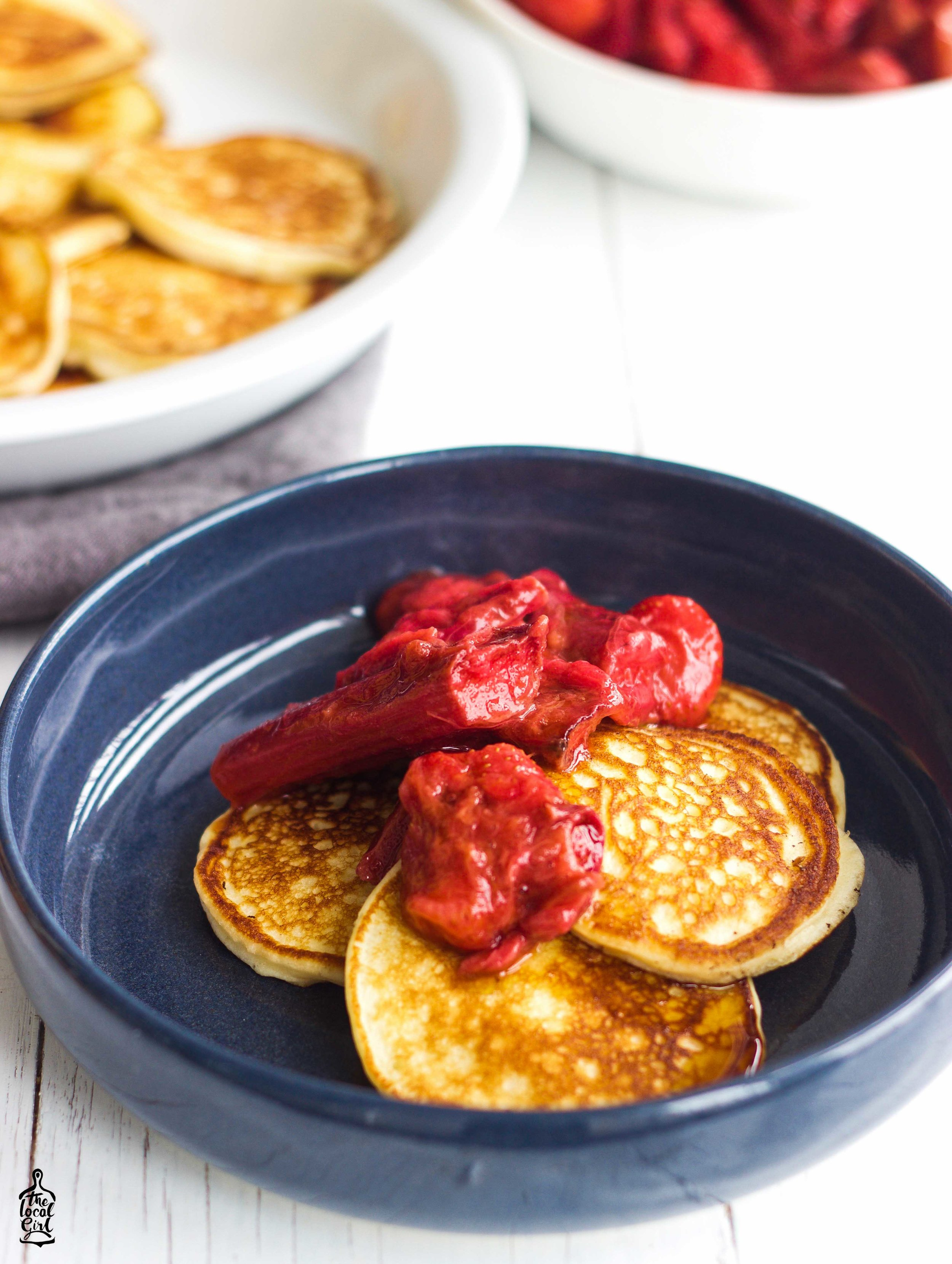 ricotta hotcakes with rhubarb compote