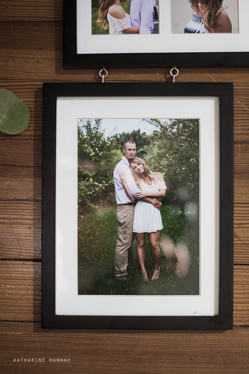 Framed engagement session photographs