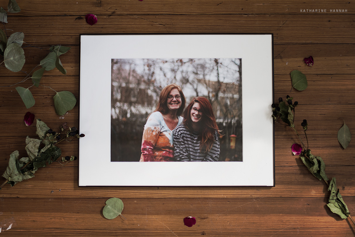 Self portrait framed with mom