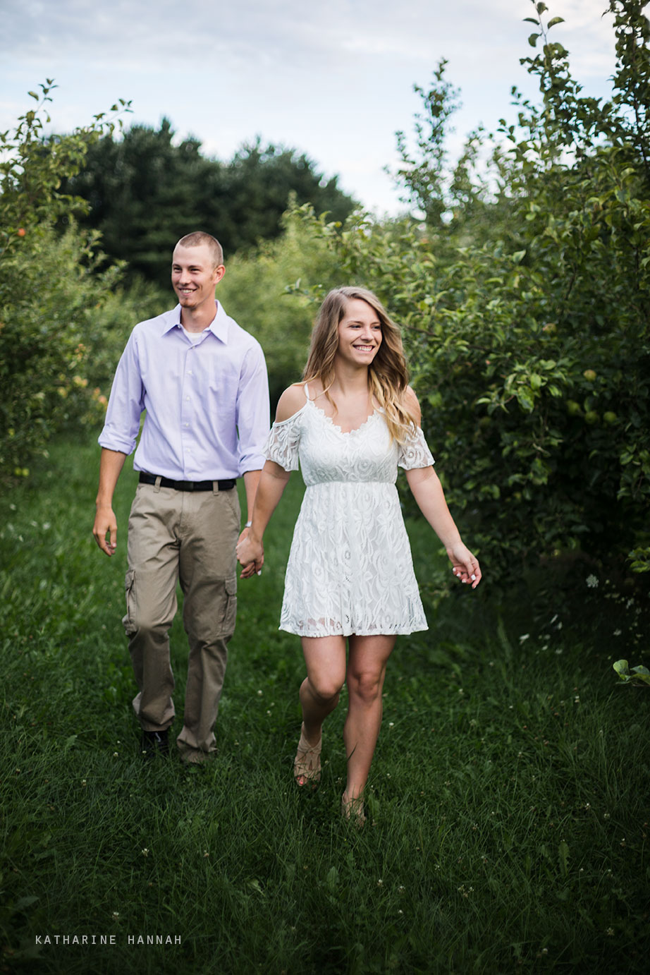 Engagement photos at County Line Orchard
