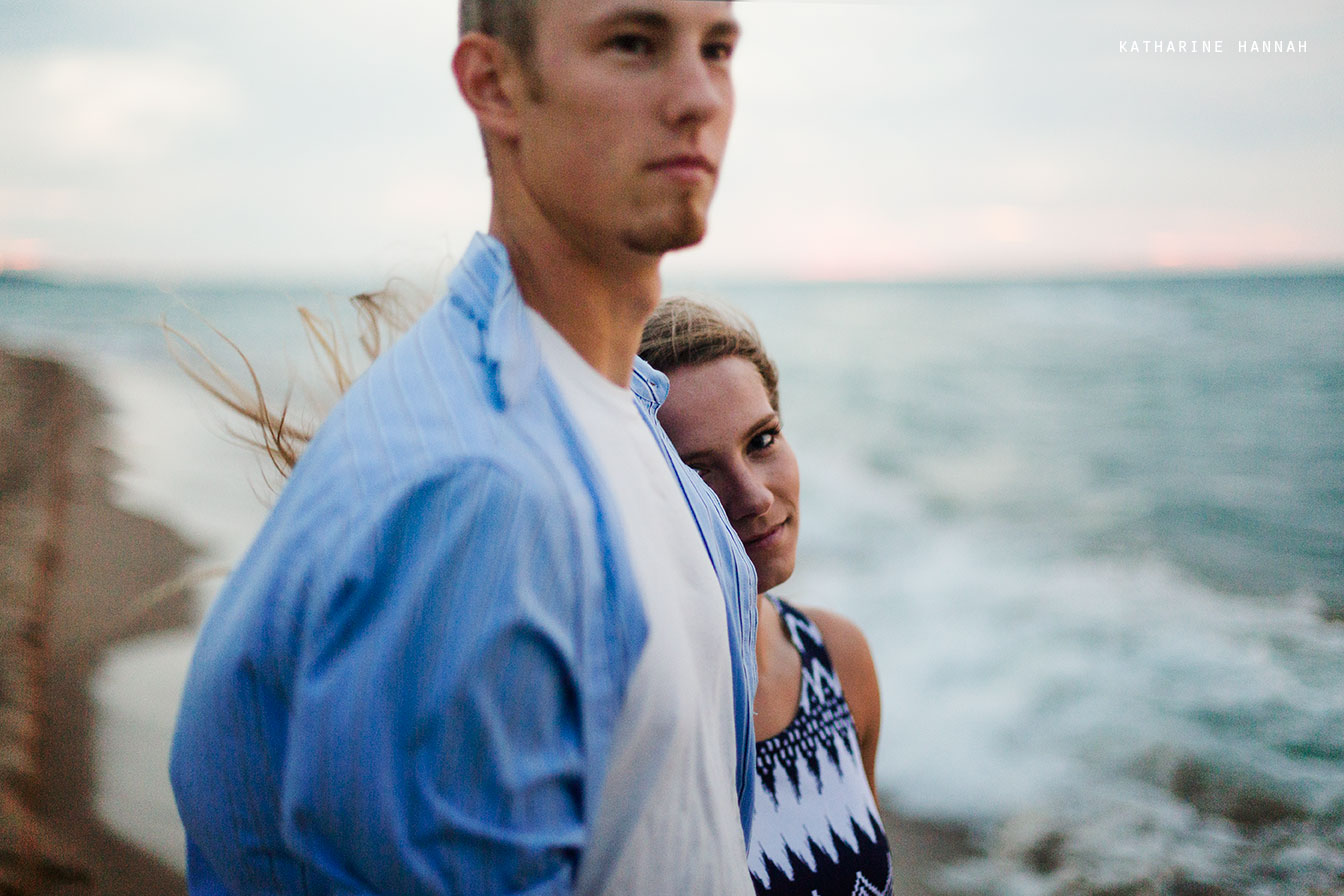 Indiana dunes romantic couple engagement photos