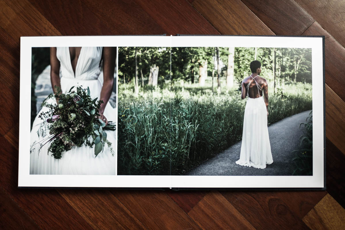 Fine art portraits of Nzinga in example luxe linen album by Chicago photographer Katharine Hannah