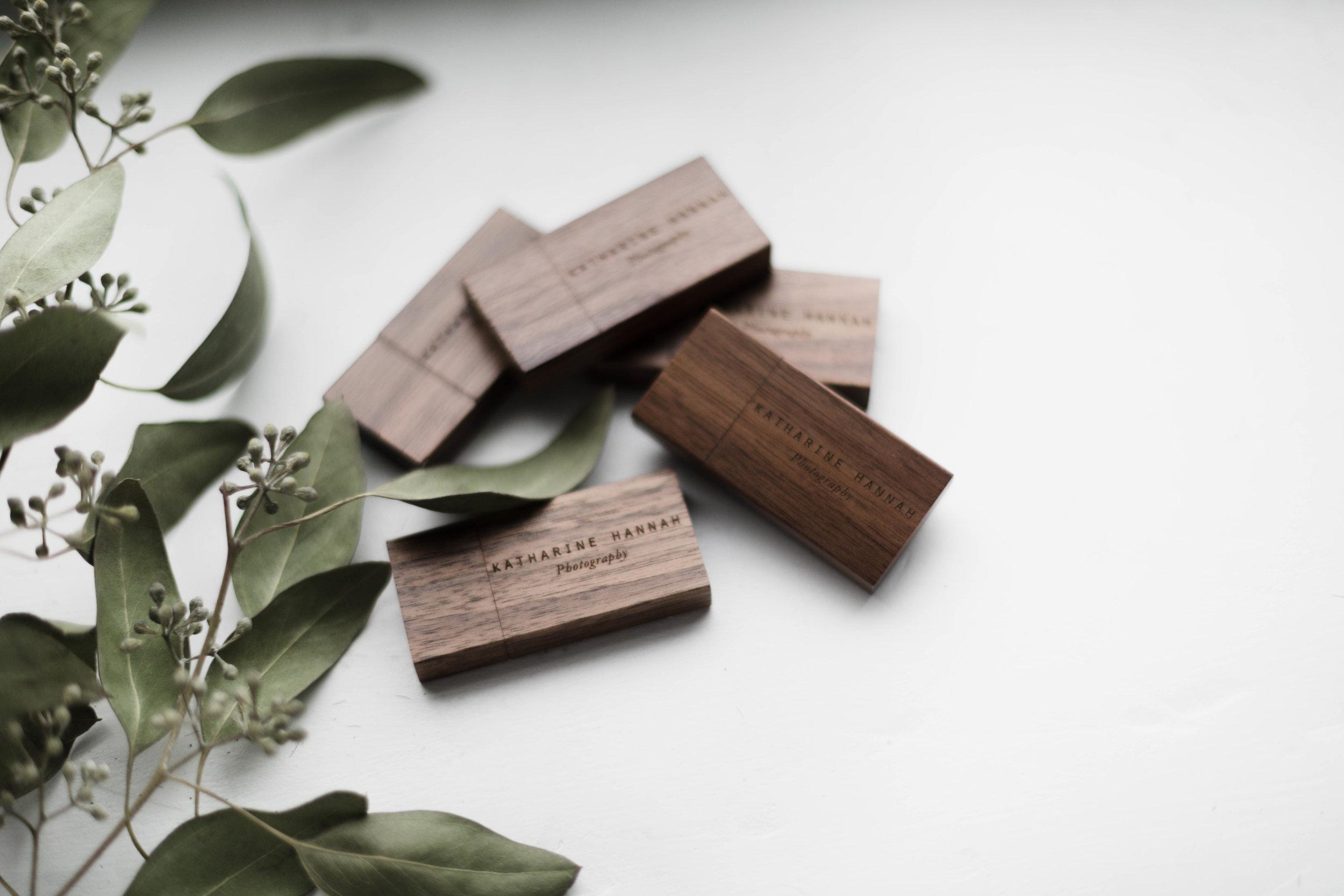 Custom wood USB drives from fine art portrait photographer Katharine Hannah