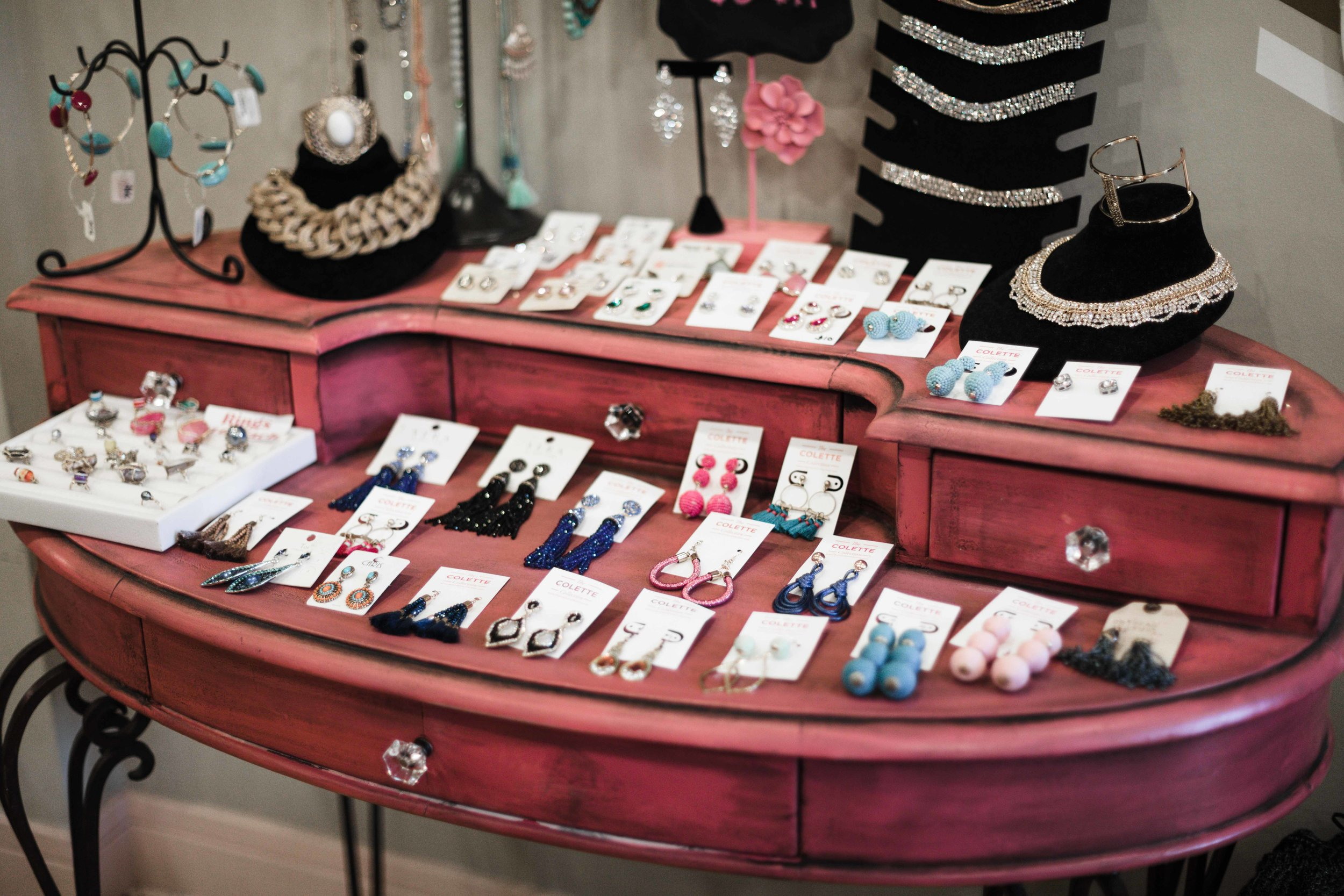 Old fashioned jewelry display case at The Colette Collection in Chicago boutique