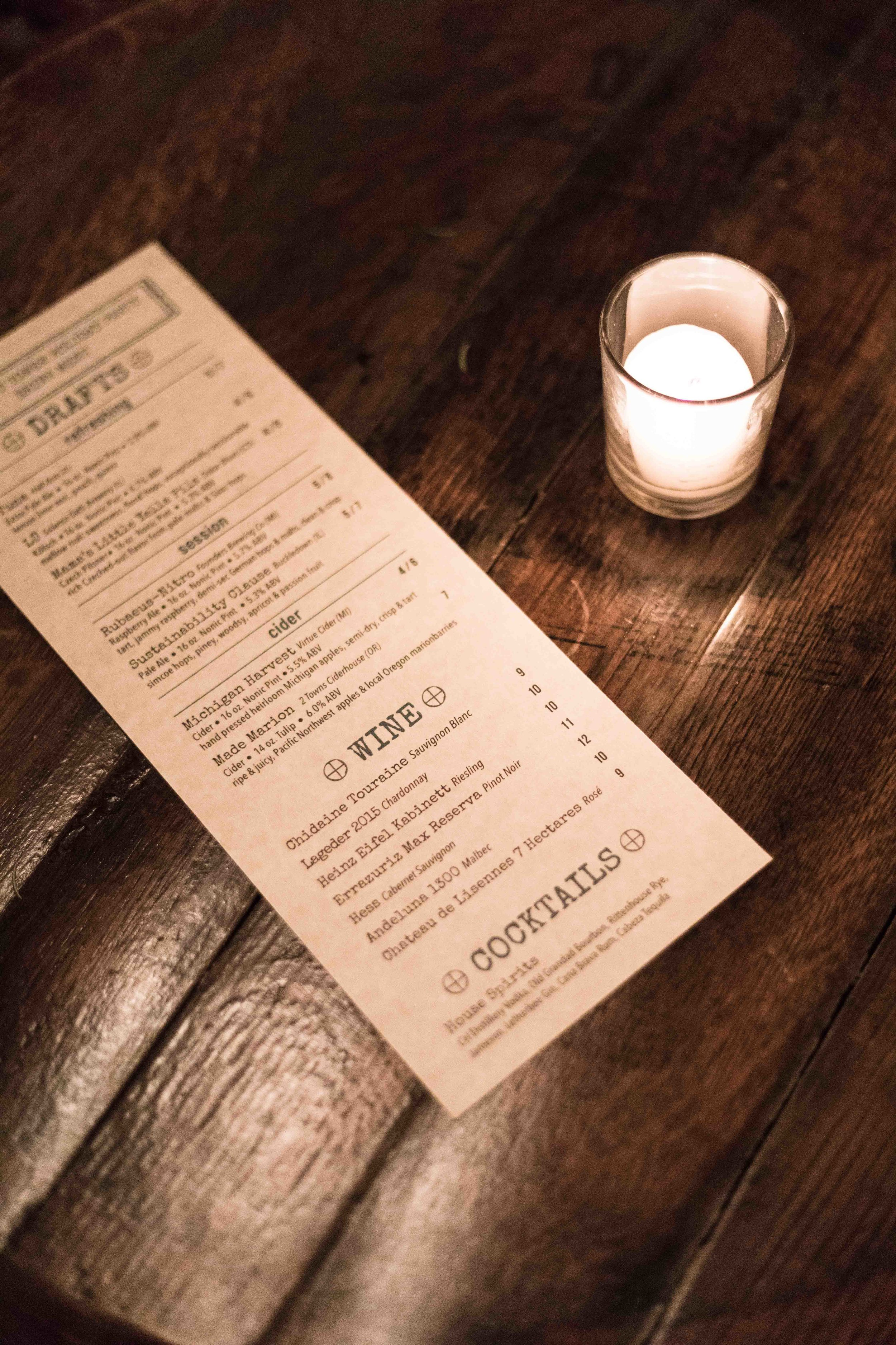 Wine menu at Centennial Crafted Beer & Eatery holiday party in Chicago