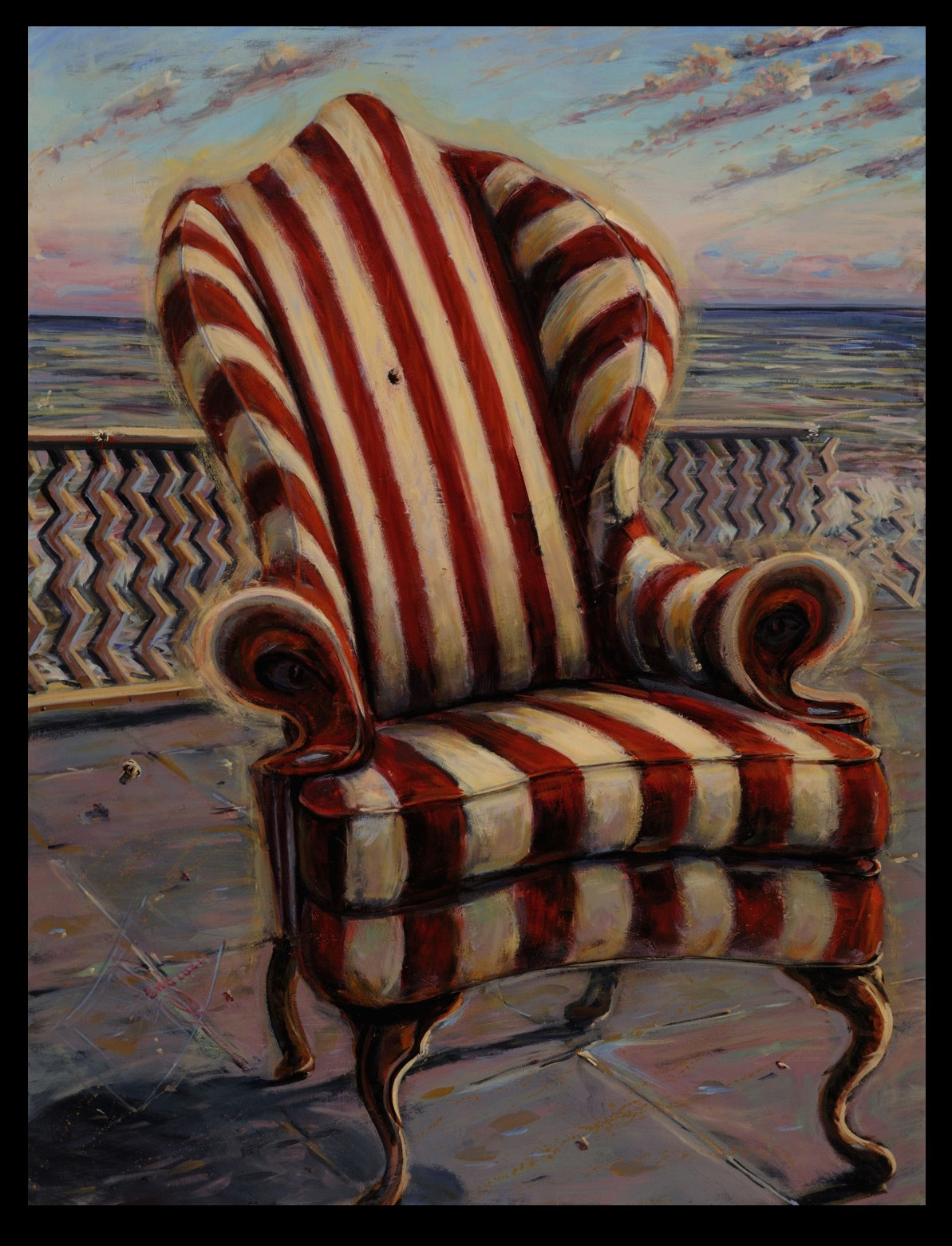 Wing Back Chair  70 x 53 inches, oil on canvas