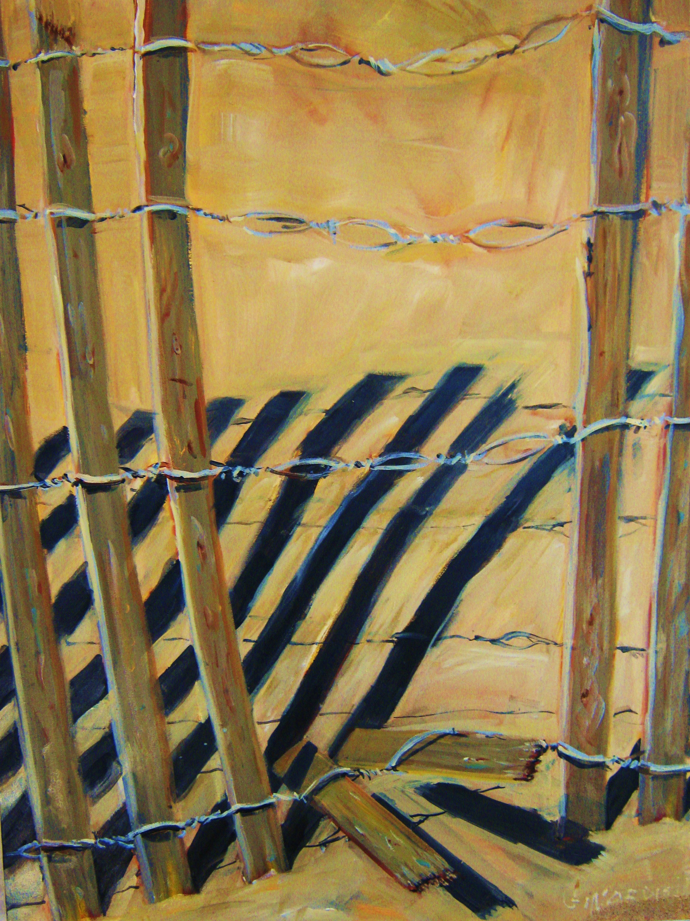 Beach Fence  40 x 30 inches, oil on canvas