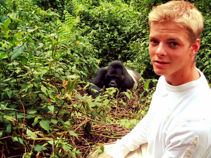 Our co-founder Niels on his first mountain gorilla track seven years ago in Bwindi visiting the Mishaya gorilla family.