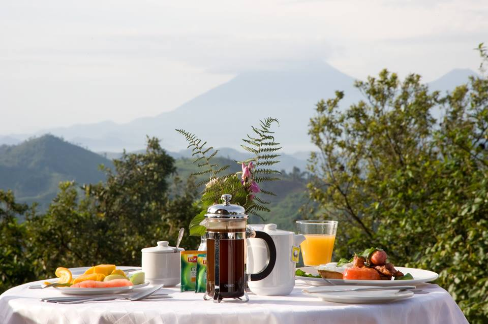 An outdoor dinning table Bwindi impenetrable forest.
