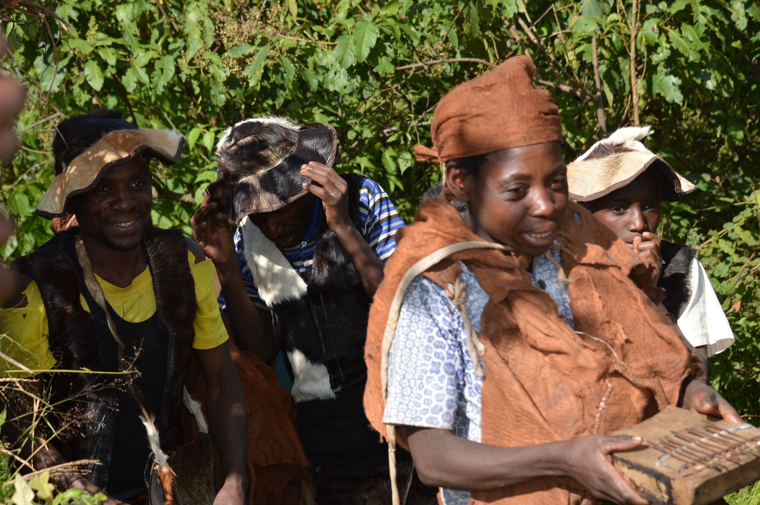 Btwa family welcoming tourists with a conservation local dance