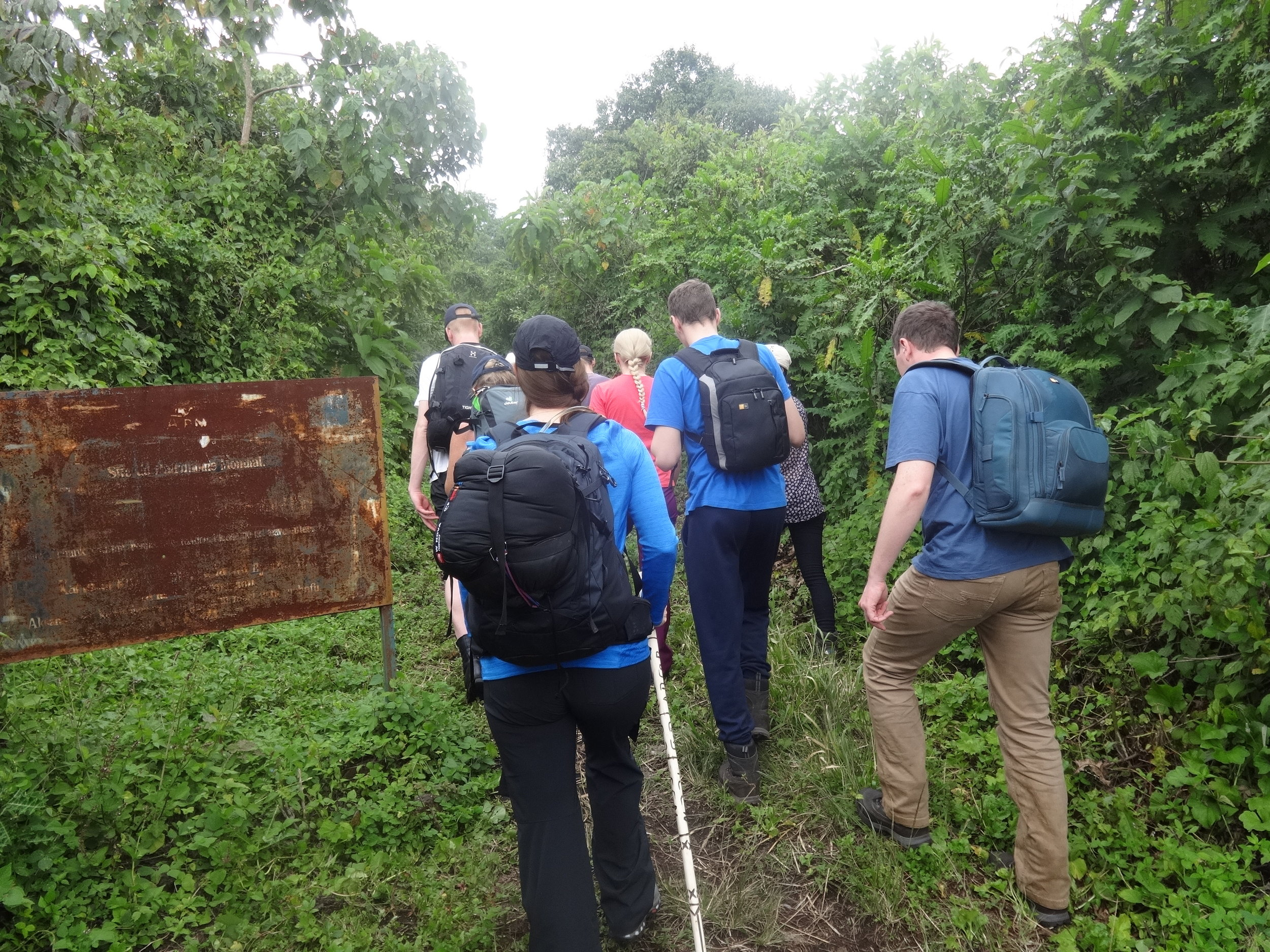 Well packaged tourist on Nyiragongo mountain hiking in D.R.Congo at Kibaati.