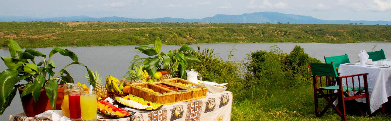 Bush breakfast as served at mweya safari lodge.