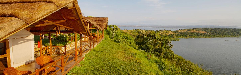 Touristic safari tent elevated at the bank of Kazinga natural channel.