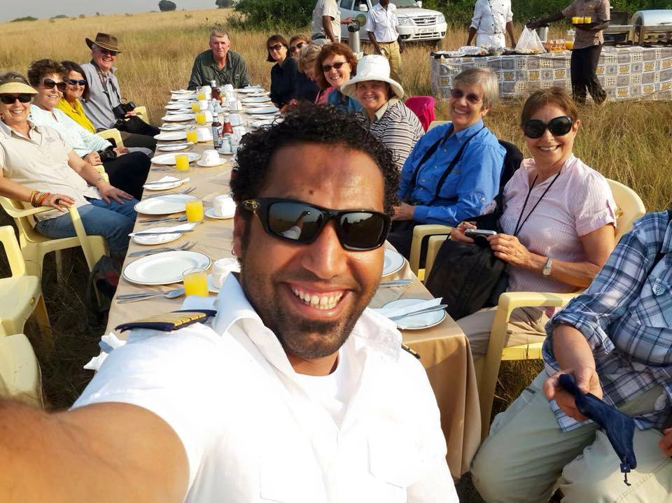 Balloon pilot's Selfie moments alondside Breakfast table with tourists.