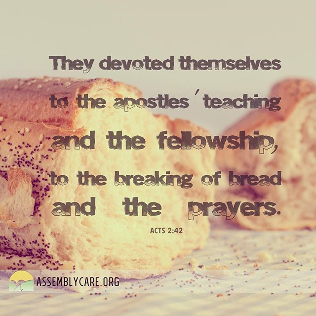 """They devoted themselves to the apostles' teaching and the fellowship, to the breaking of bread and the prayers."" Acts 2:42"