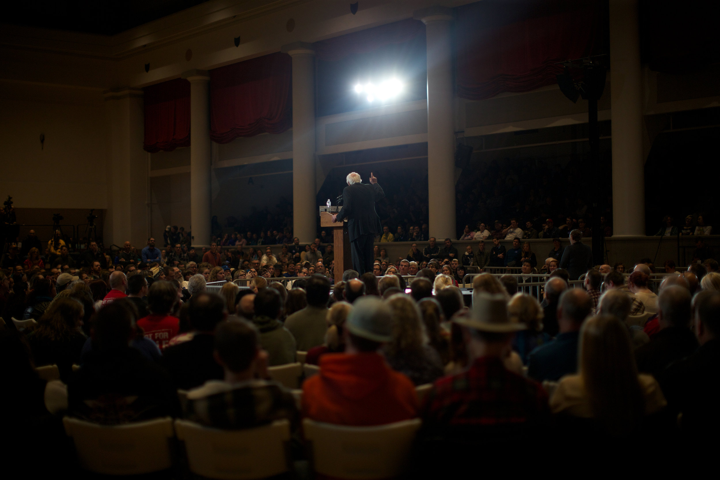 Bernie Sanders speaks to a crowded room inside the Veterans Memorial Building on Friday, Jan. 08, 2016 in Cedar Rapids. Sanders, a Democratic presidential candidate. discussed college tuition, global climate change and gun violence. (The Daily Iowan/Brooklynn Kascel)