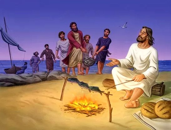 Jesus stepped forward, took the bread and gave it to them, and did the same with the fish.