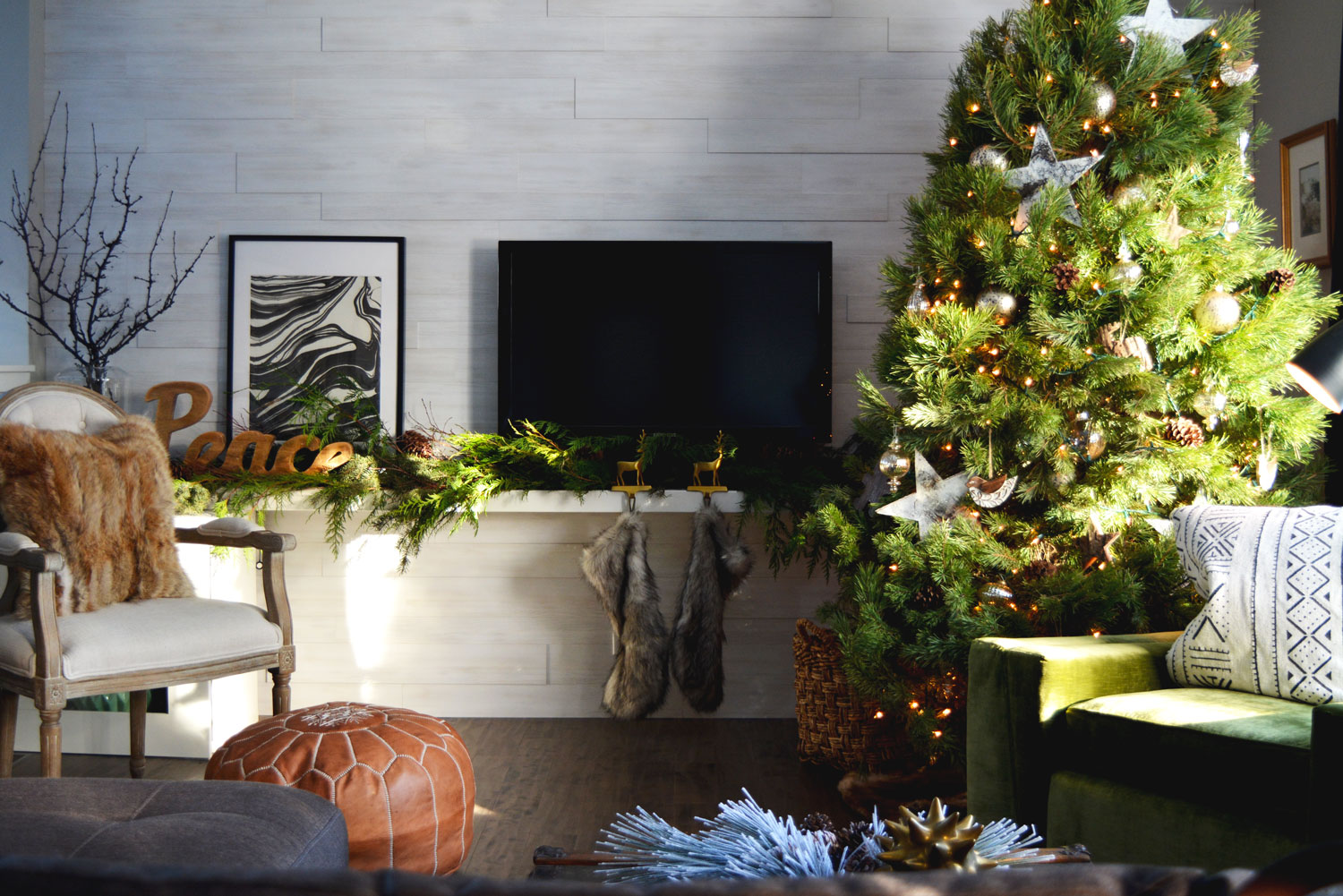 Who needs a fireplace?! Stockings can be hung down a stair railing or along a floating shelf!