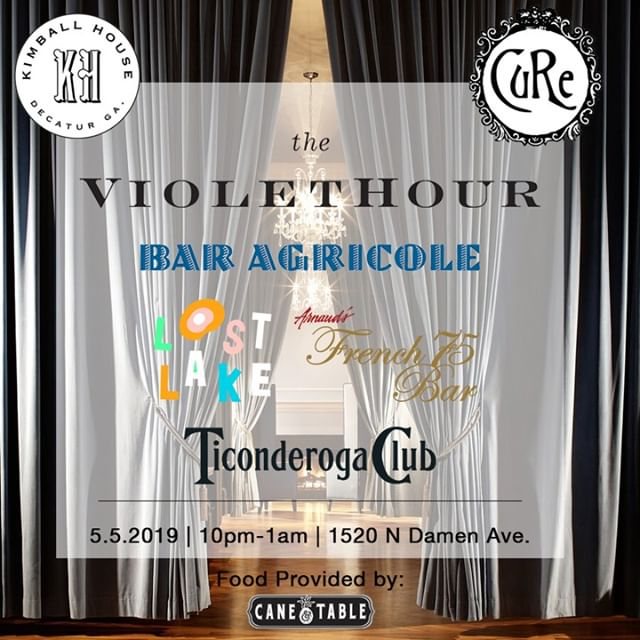   TOMORROW! Breaking All The Rules! Sunday, 5.5.19 from 10pm-1am, 2018 winner of the JBF Award for Outstanding Bar Program, Cure joins The Violet Hour in a toast to finalists past and present!  2019 finalists Bar Agricole, Kimball House, Lost Lake, and Ticonderoga Club will be joining 2018 and 2017 winners Cure and Arnaud's French 75 in the largest Takeover of The Violet Hour yet.   Representatives from two outstanding bars at a time are stepping behind our bar to do what they do best and dazzle us all with delicious beverages. However, don't worry if you miss their stint: a featured signature cocktail from each bar will be available on draft for the duration of the event!    Executive Chef Alfredo Nogueira from JBFA winner Cure and sister concept Cane & Table will be serving up Caribbean inspired snacks, like classic beef empanadas and crab croquettes, to keep you fueled through the night.   Meanwhile the usual Violet Hour rules will be on hold. We're flipping our 'no standing room' policy  to a standing room only affair in our middle and back salons.  Link in bio for more! 