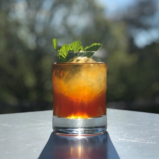 We're reaching way back and putting this Violet Hour Classic back on the menu for the weekend: The Art Of Choke  by Original Tender Kyle Davidson Cynar, Rum, Green Chartreuse, Mint, Angostura  Eternally classic. . . . 📸 @abevuc  #tvhclassics #springcocktails  #amaro #greenchartreuse  #tvhoutside @campariusa