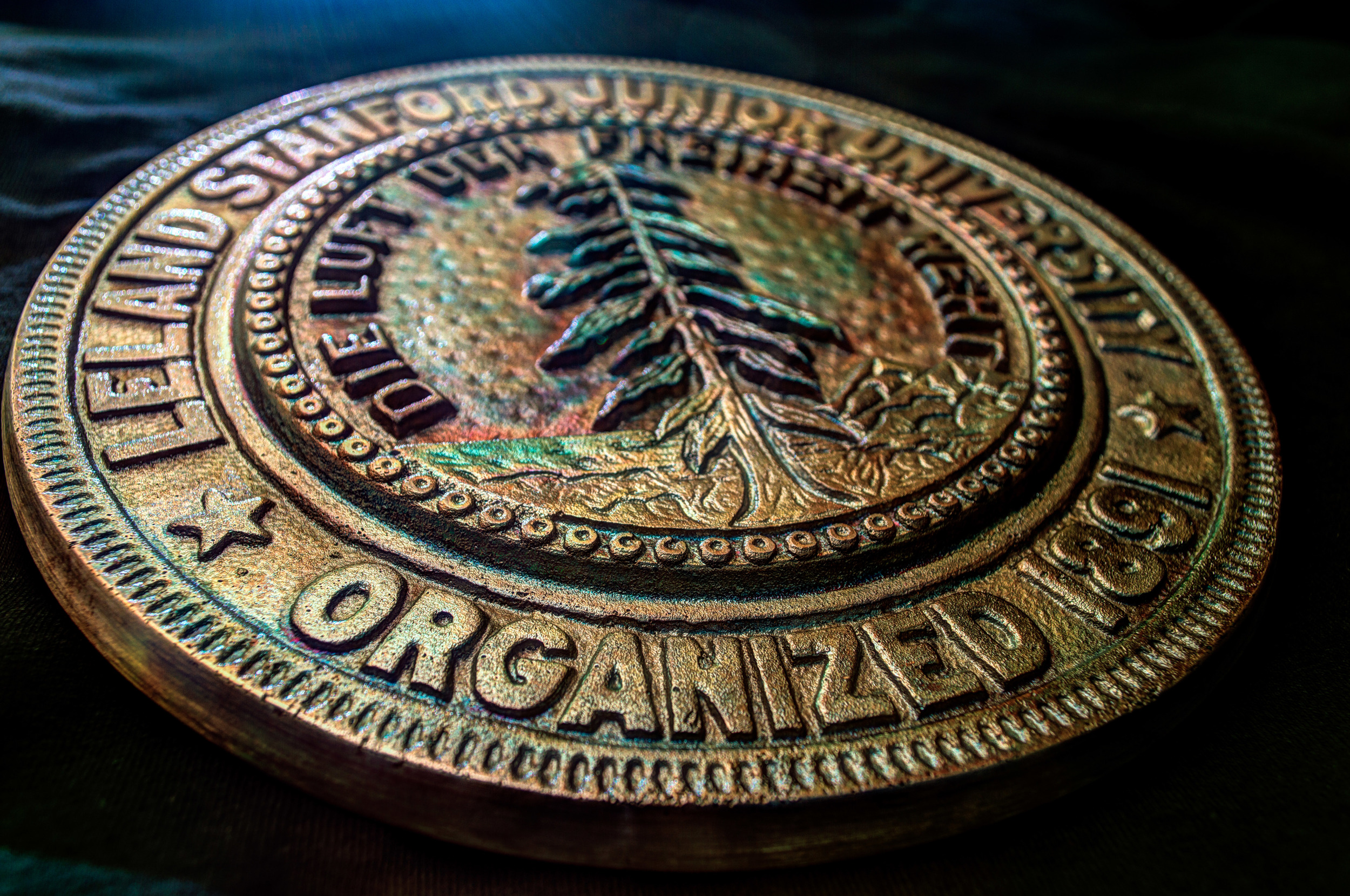 In ME203: Design and Manufacturing, every student makes a plaque of the Stanford Seal by sand casting it in bronze  Nikon D3200 | 30mm | f/7.1 | 15s | ISO-100
