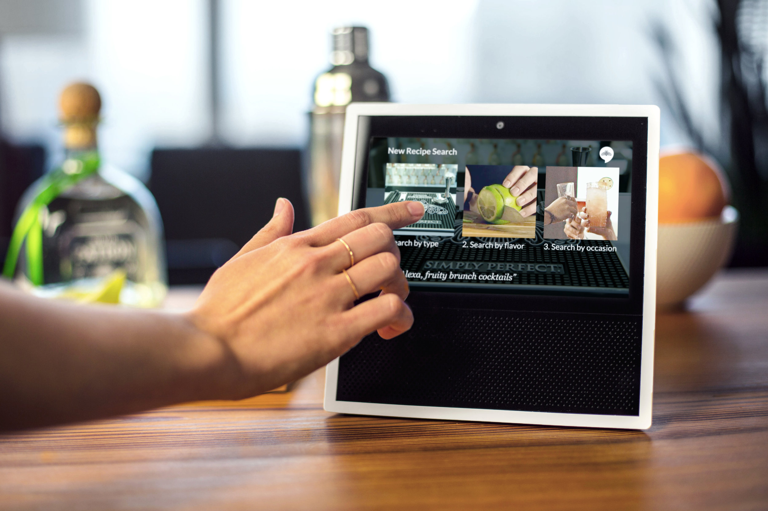 Ask Patrón Amazon Echo skill adaptation for the Amazon Echo Show // Voice-meets-visual in the Echo Show, giving new opportunities to offer tequila-lovers ways to make cocktails at home //  Learn more about it //  Check it out