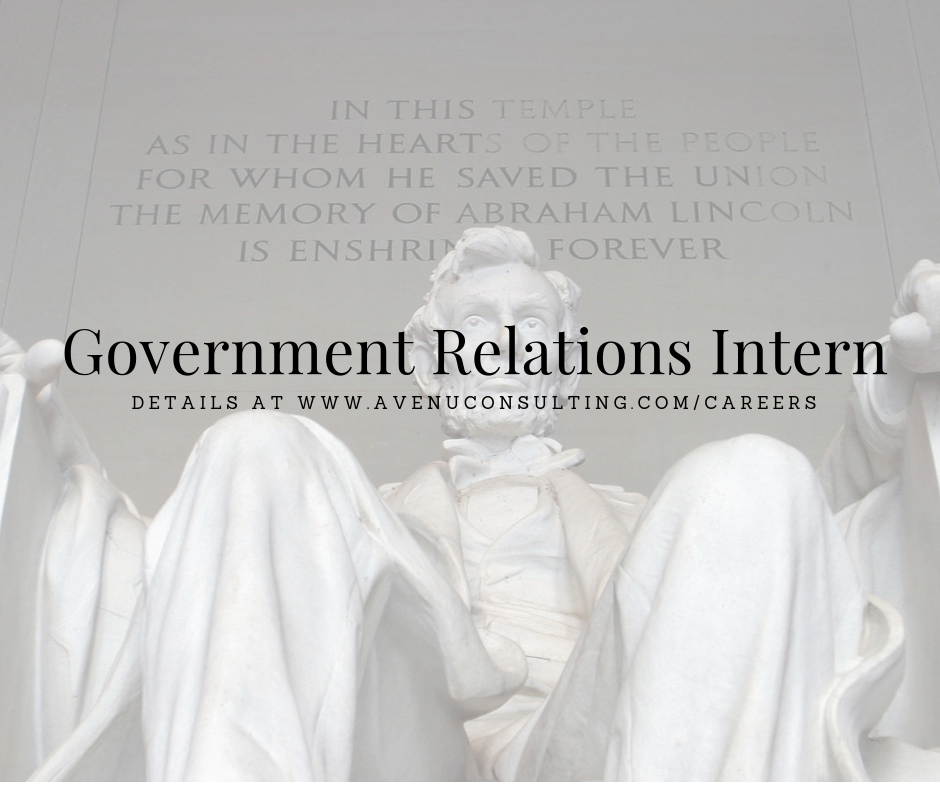 Government Relations Intern - Avenu Consulting is looking for motivated, hard-working interns to join our Government Relations team for our Fall Internship Program.