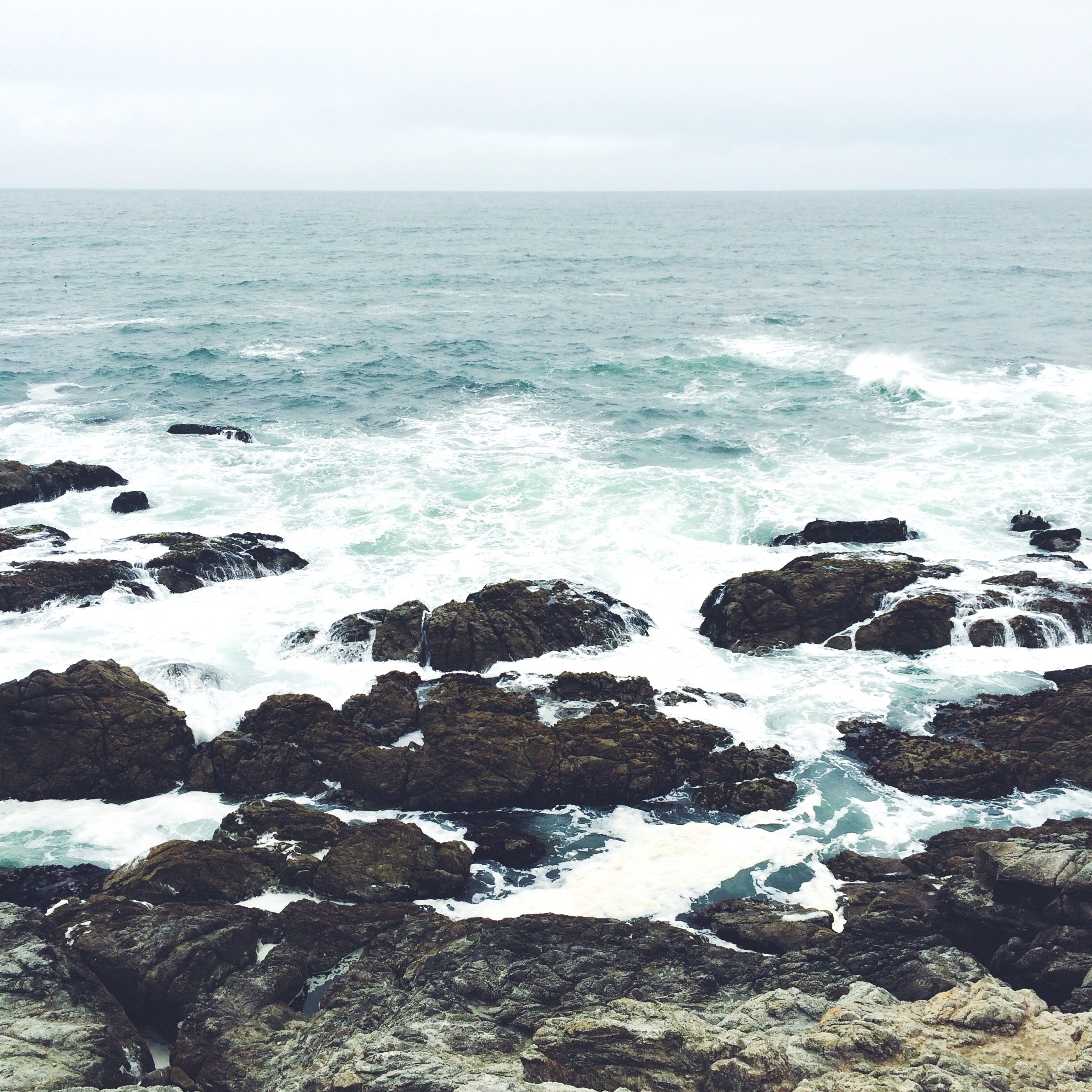 [Photo of the ocean with the horizon in the background and waves breaking over large rocks in the foreground. Photo by Mia Mingus.]